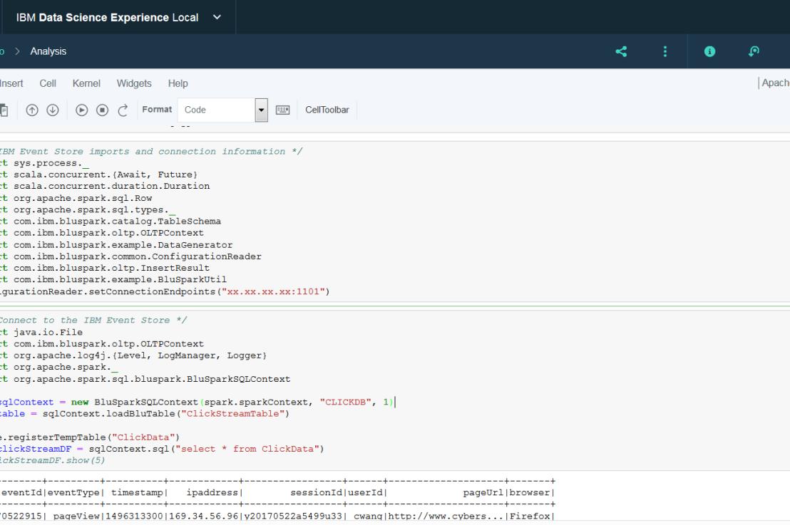 Analyze clickstream data with IBM Db2 EventStore for customerinsights